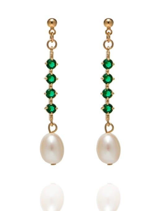 golden Brass Freshwater Pearl Geometric Minimalist Long Drop Earring