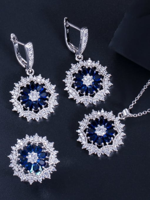 Blue Ring Size 7 Dainty Flower Brass Cubic Zirconia Earring Ring and Necklace Set