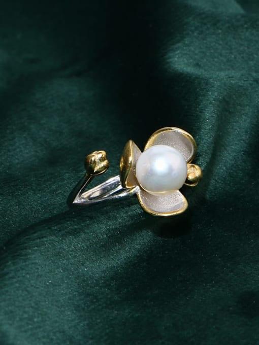 RAIN Brass Freshwater Pearl Flower Vintage Band Ring 3