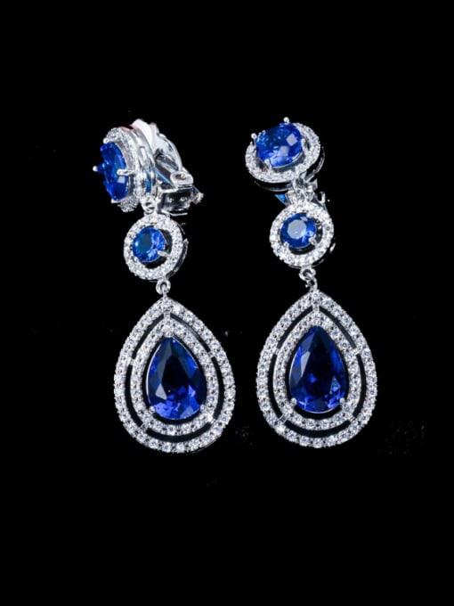 blue Brass Cubic Zirconia Water Drop Statement Drop Earring