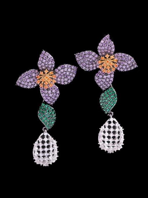 Violet green zirconium Brass Cubic Zirconia Flower Vintage Drop Earring