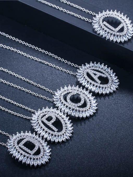 L.WIN Brass Cubic Zirconia Geometric Luxury Letter pendant Necklace 3