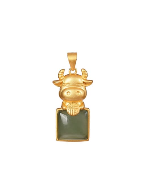 DEER 925 Sterling Silver Jade Cute Zodiac Cow Pendant 0