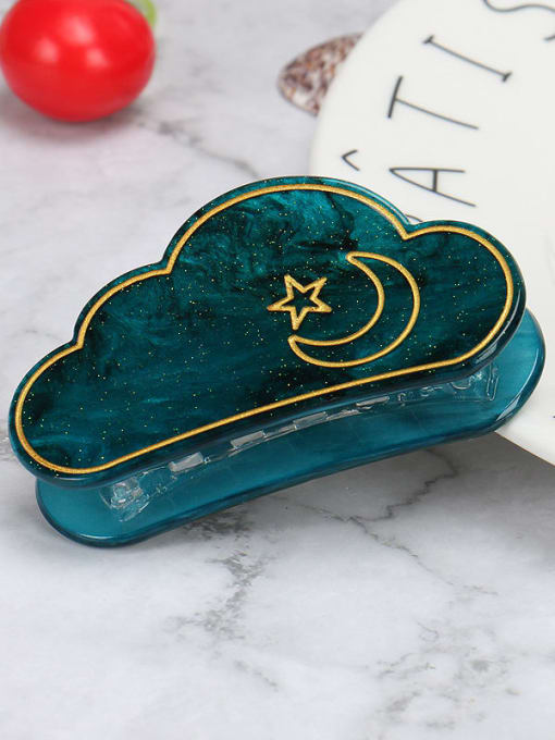 Green starry sky Cellulose Acetate Minimalist Cloud Zinc Alloy Jaw Hair Claw