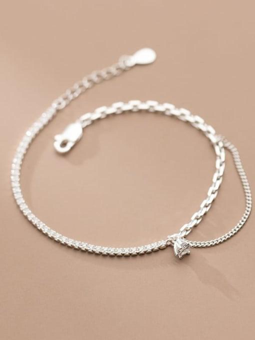 Rosh 925 Sterling Silver Cubic Zirconia Geometric Vintage Strand Bracelet 3