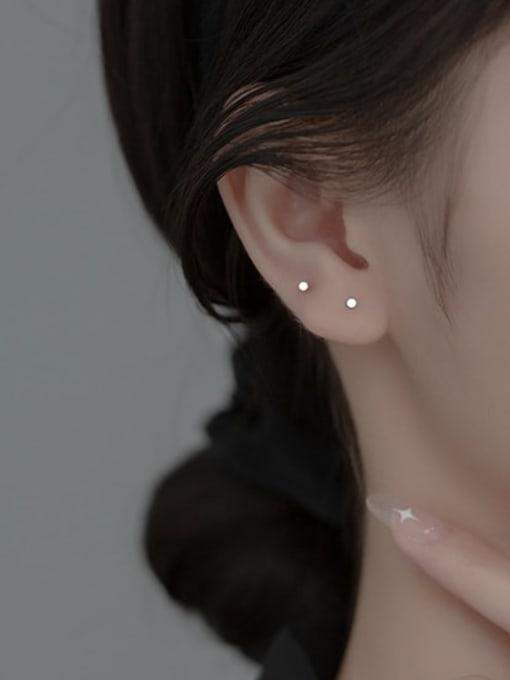 Rosh 925 Sterling Silver Round Minimalist Stud Earring 1