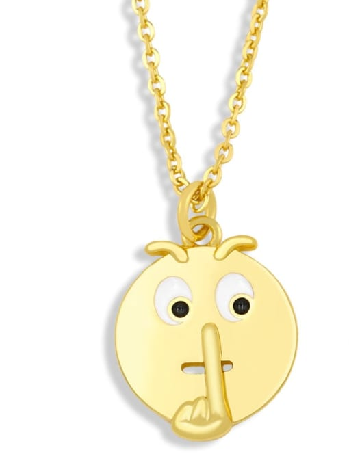 nku95 D Brass Enamel Geometric Hip Hop Necklace
