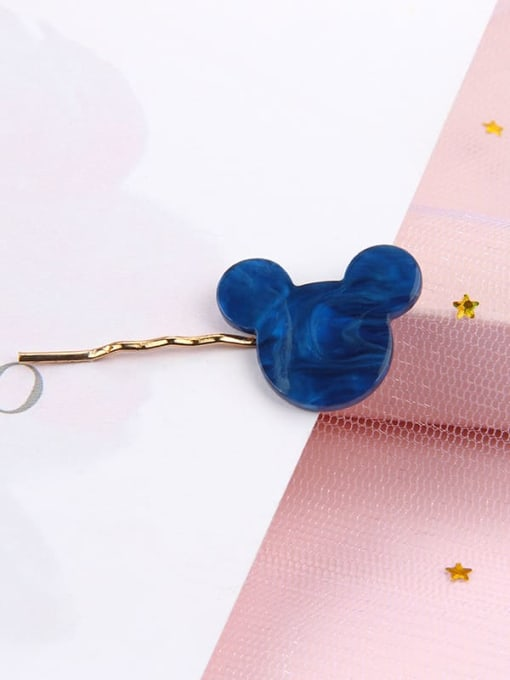 Cartoon water blue Alloy Cellulose Acetate Minimalist Heart Hair Pin
