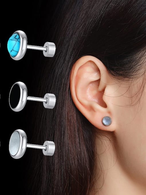 CONG Stainless steel Turquoise Round Vintage Stud Earring 0