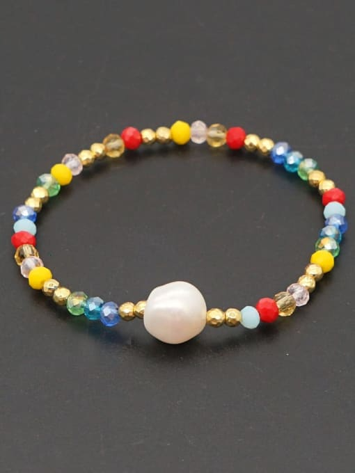 ZZ B200096D Stainless steel Bead Multi Color Round Minimalist Beaded Bracelet
