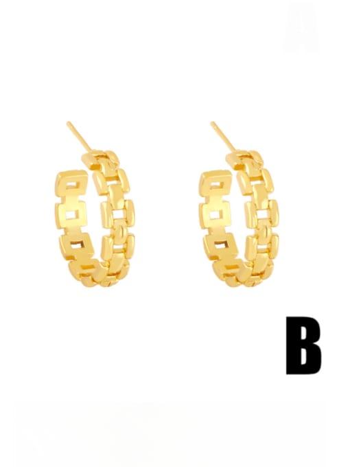 B Brass Cubic Zirconia Heart Minimalist Stud Earring