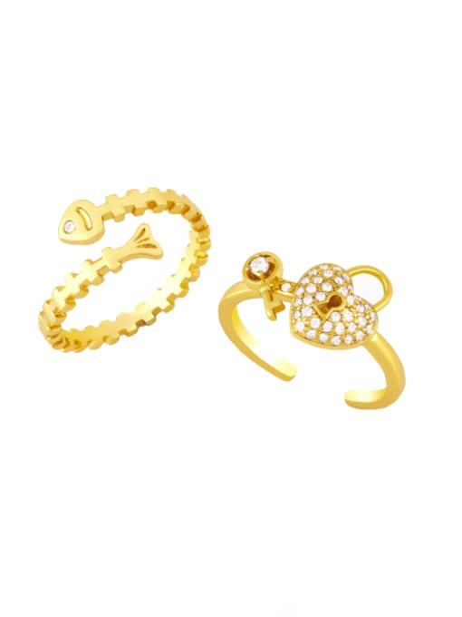 CC Brass Cubic Zirconia Key Minimalist Band Ring 0