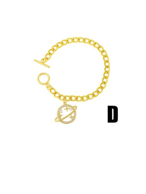 D Brass Cubic Zirconia Heart Vintage Link Bracelet