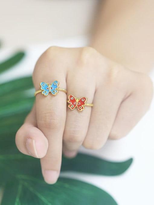 CC Brass Enamel Butterfly Minimalist Band Ring 1