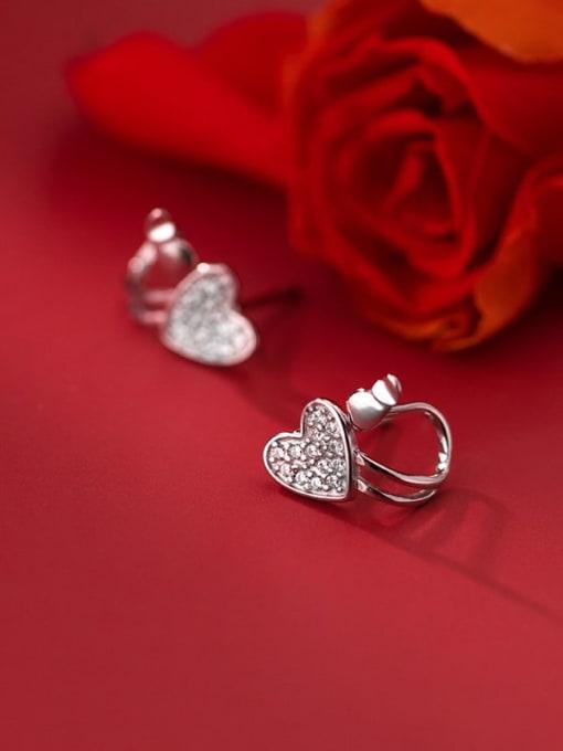 Rosh 925 Sterling Silver Cubic Zirconia Heart Minimalist Huggie Earring 2
