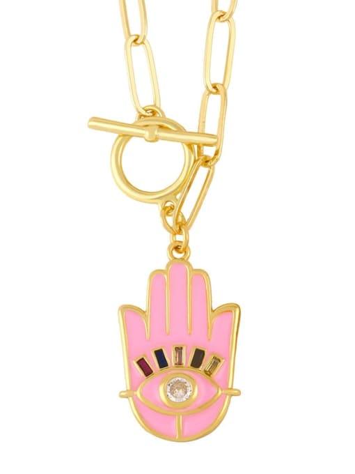 Pink Brass Enamel Evil Eye Vintage palm Pendant Necklace