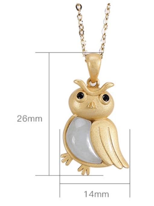 DEER 925 Sterling Silver Jade Cute Bird Pendant 2