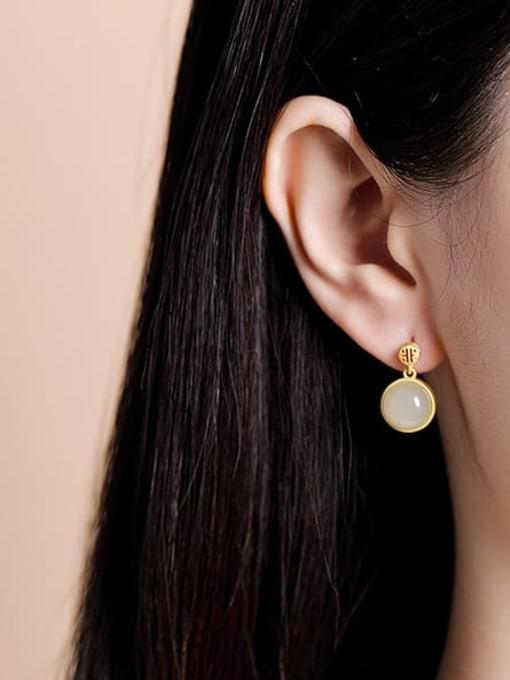 DEER 925 Sterling Silver Jade Geometric Minimalist Stud Earring 1