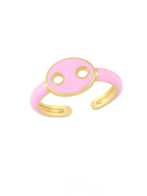 Pink Brass Enamel Geometric Minimalist Band Ring