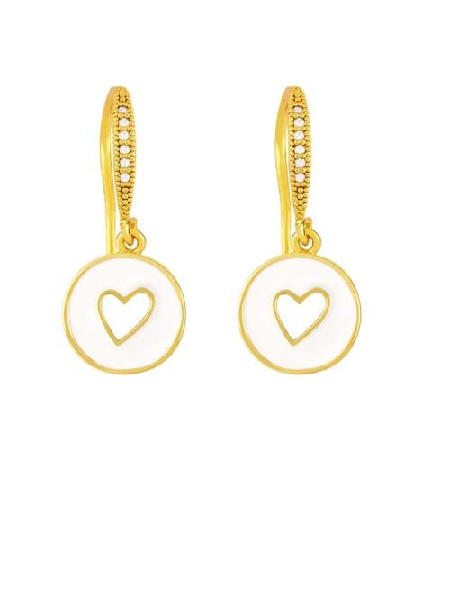 CC Brass Enamel Heart Vintage Huggie Earring 4
