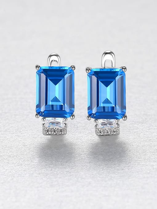 CCUI Chicago Style 925 Sterling Silver Cubic Zirconia Geometric Luxury Stud Earring