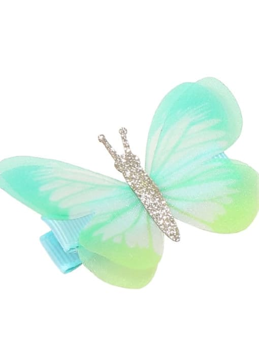 9 Alloy Fabric Cute Butterfly  Multi Color Hair Barrette