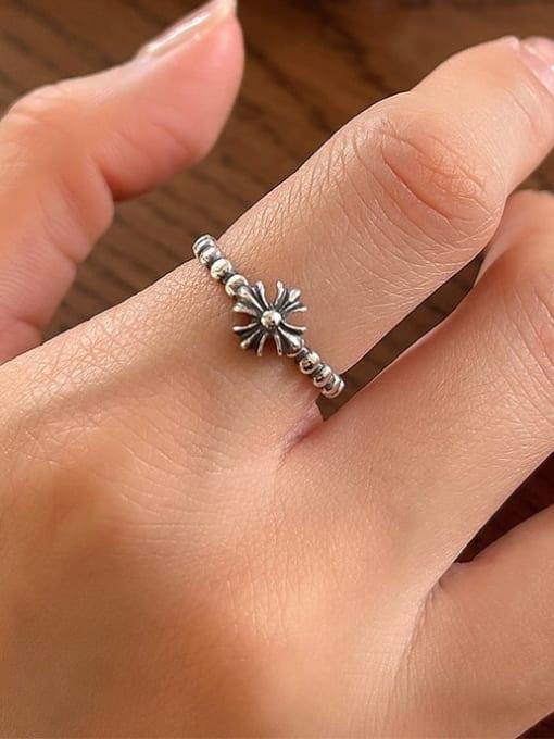 Cross ring J100 1.6g 925 Sterling Silver Cross Vintage Band Ring