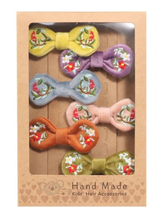 1 six hairpins in a box Alloy  Fabric Cute Bowknot Hair Barrette