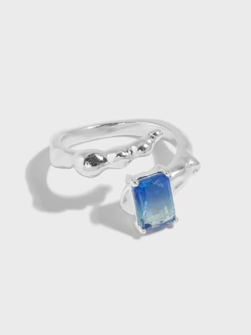 DAKA 925 Sterling Silver Cubic Zirconia Irregular Vintage Band Ring