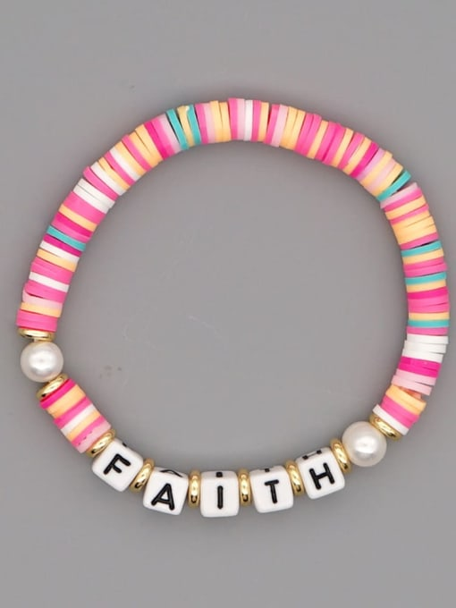 QT B200145B Stainless steel Multi Color Polymer Clay Letter Bohemia Stretch Bracelet