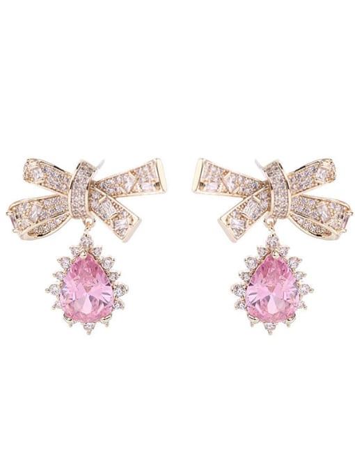 Luxu Brass Cubic Zirconia Bowknot Trend Drop Earring 2