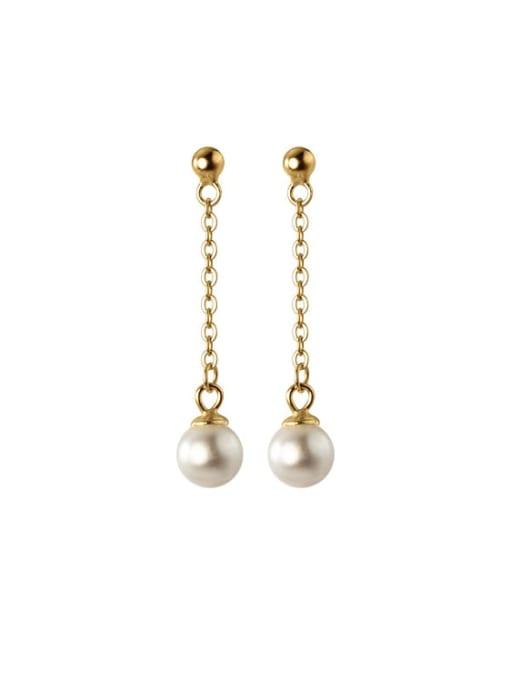Rosh 925 Sterling Silver Imitation Pearl Tassel Minimalist Threader Earring 4