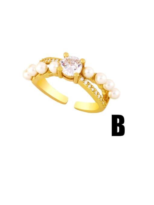 B Brass Cubic Zirconia Geometric Vintage Band Ring