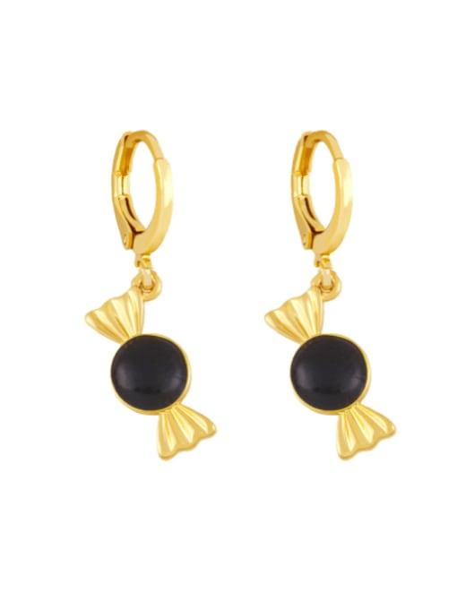 black Brass Enamel Irregular Candy Trend Huggie Earring