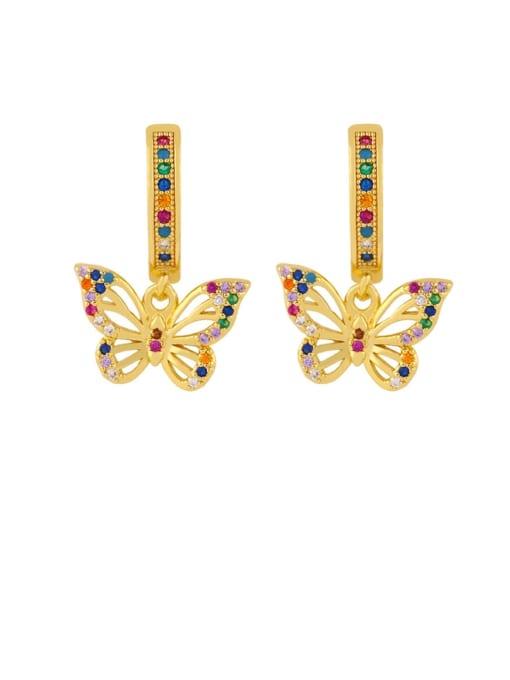 butterfly Brass Cubic Zirconia Heart Dainty Huggie Earring