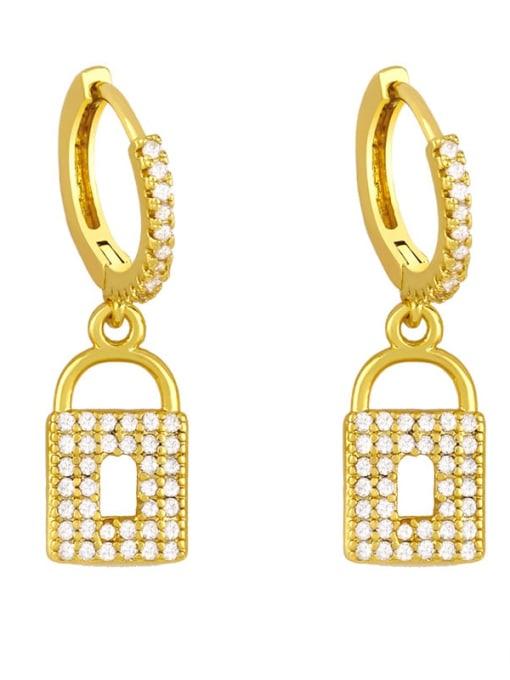 A Brass Cubic Zirconia Heart Vintage Huggie Earring