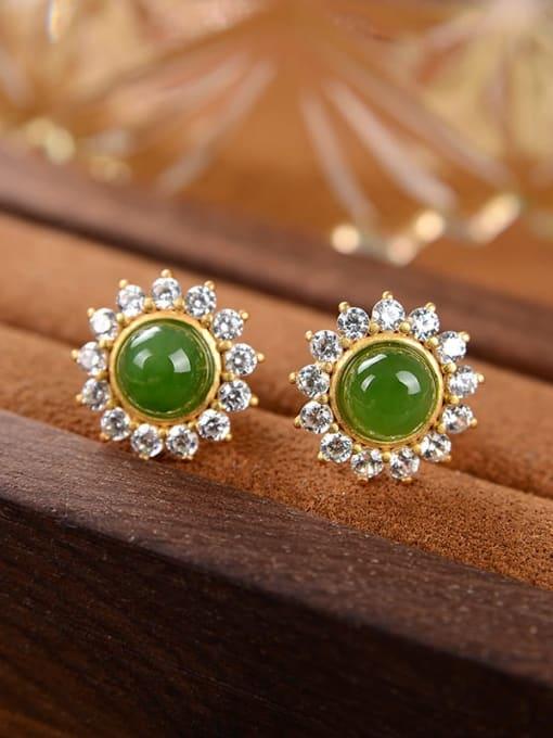 Jasper 925 Sterling Silver Jade Flower Cute Stud Earring