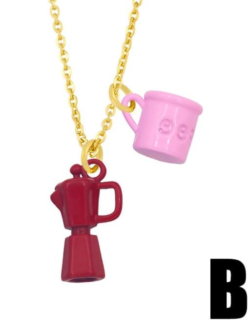 B (pink red) Brass Enamel Irregular Vintage Necklace
