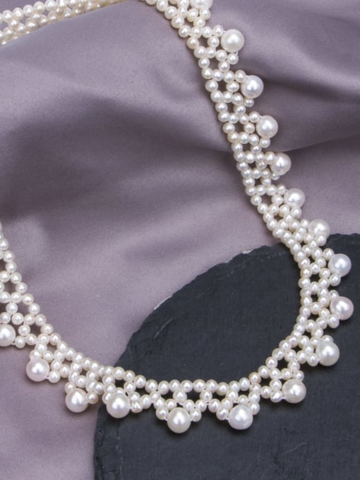 RAIN Brass Freshwater Pearl Flower Vintage Choker Necklace 2