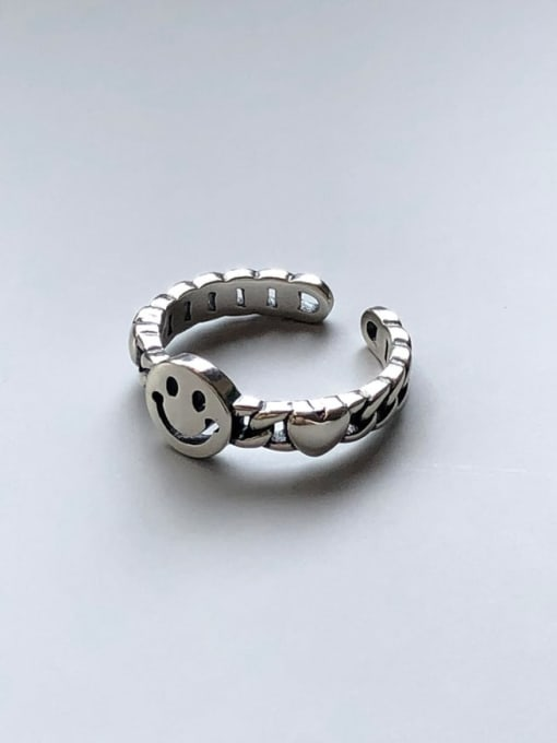 Boomer Cat 925 Sterling Silver Smiley Minimalist Band Ring 3
