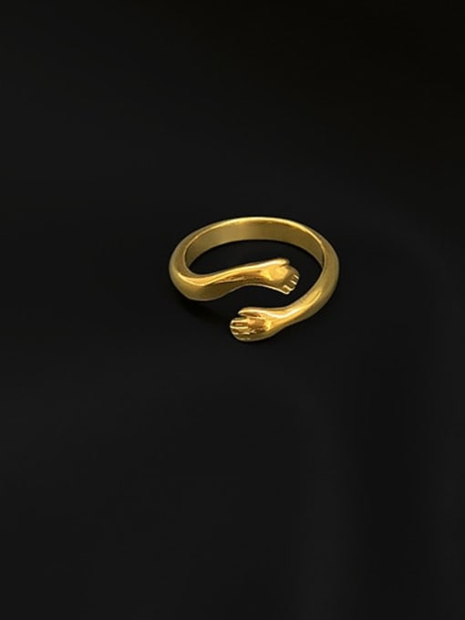 A TEEM Titanium Steel Irregular Minimalist Band Ring