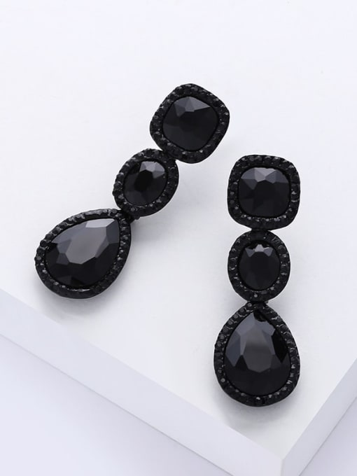 CC Alloy Glass Stone Water Drop Bohemia Cluster Earring 2