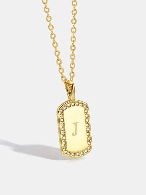 CHARME Brass Rhinestone Letter Minimalist Necklace
