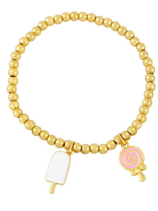 white pink Brass Enamel Heart Vintage Beaded Bracelet