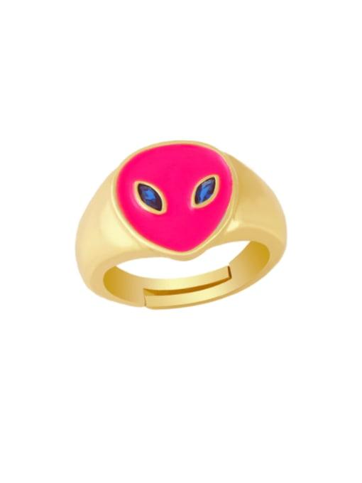 Rose red Brass Enamel Heart Minimalist Band Ring