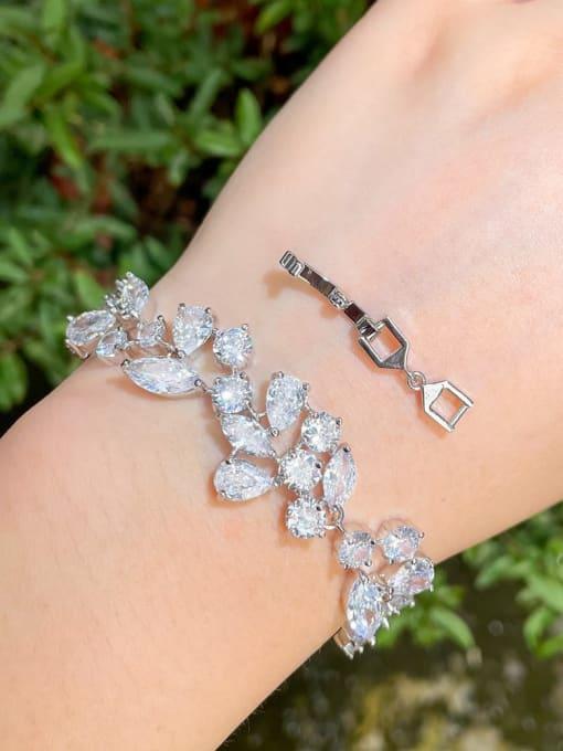 L.WIN Brass Cubic Zirconia Water Drop Luxury Link Bracelet 2