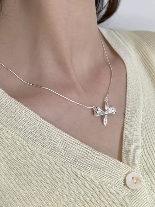 Boomer Cat 925 Sterling Silver Bowknot Vintage Necklace 1