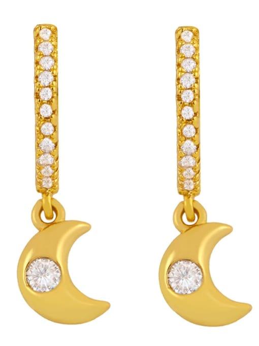 CC Brass Cubic Zirconia Star Minimalist Huggie Earring 4