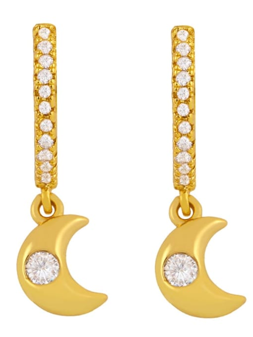 moon Brass Cubic Zirconia Star Minimalist Huggie Earring