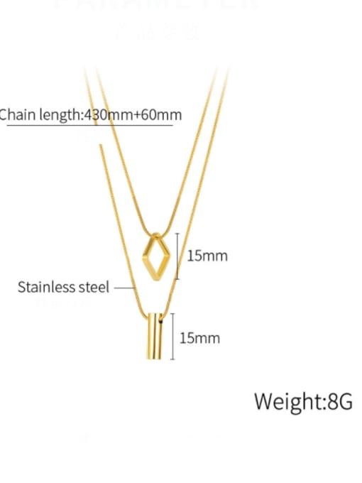 Open Sky Titanium Steel Geometric Minimalist Multi Strand Necklace 3